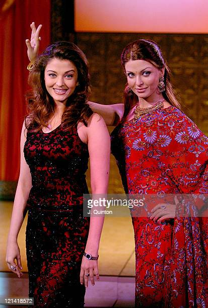 Aishwarya Rai with her new waxwork figure during 'Bollywood For Beginners' Photocall at Madame Tussauds in London Great Britain