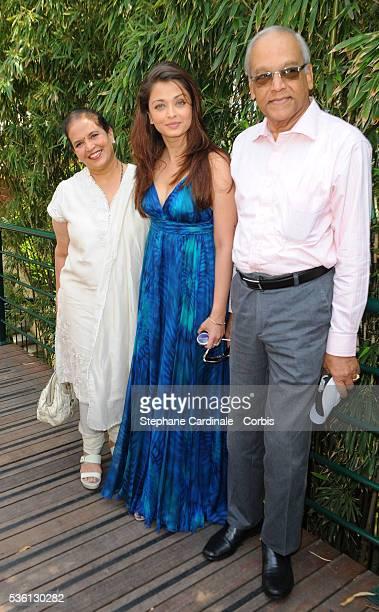 Aishwarya Rai with her parents at Roland Garros Village