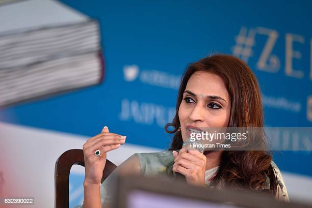 Aishwaryaa Rajnikanth Dhanush speaks at 'Standing on an Apple Box Memoirs and Memories' session at the ZEE ZEE Jaipur Literature Festival 2017 on...