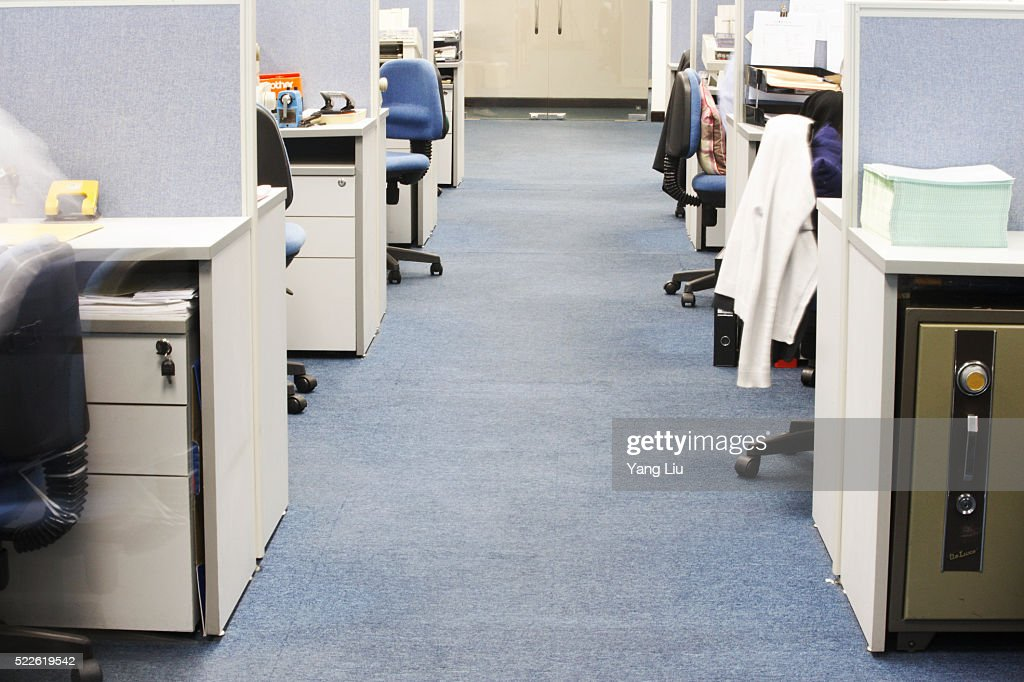 Aisle Between Office Cubicles : Stock Photo