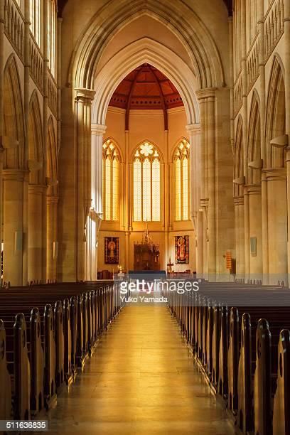 aisle of catholic presbytery-sacred heart cathedral - bendigo stock pictures, royalty-free photos & images