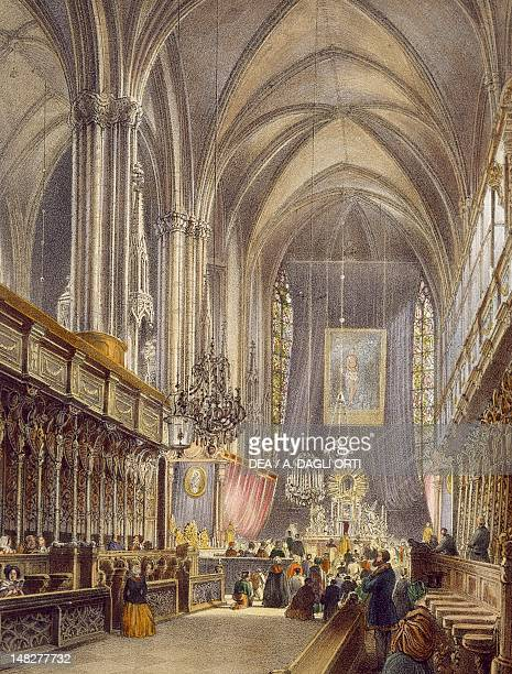 Aisle of St Stephen's Cathedral in Vienna colour etching Austria Vienna Historisches Museum Der Stadt Wien