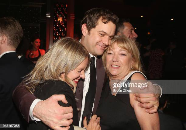 Aisleagh Jackson brother Joshua Jackson and mother Fiona Jackson pose at the opening night after party for the play Children of a Lesser God on...