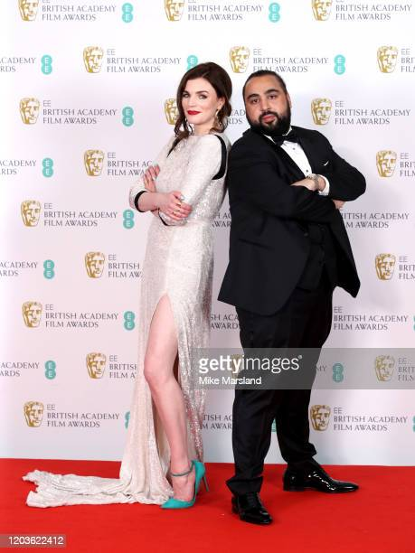 Aisling Bea and Asim Chaudhry aka Chabuddy G pose in the Winners Room during the EE British Academy Film Awards 2020 at Royal Albert Hall on February...