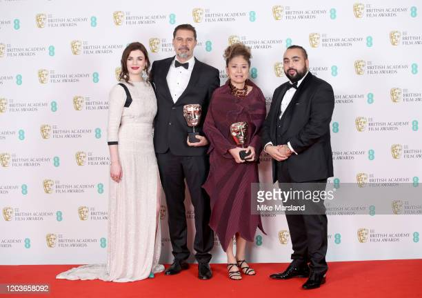 Aisling Bea Sergio Pablos and Jinko Gotoh winners of the Best Animation award for Klaus and Asim Chaudhry aka Chabuddy G pose in the Winners Room...