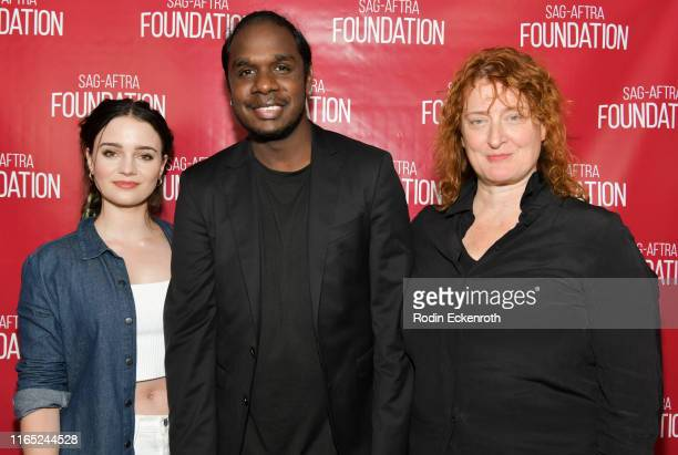 Aisling Franciosi Baykali Ganambarr and Jennifer Kent pose for portrait at SAGAFTRA Foundation Conversations with The Nightingale at SAGAFTRA...