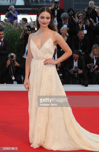 Aisling Franciosi walks the red carpet ahead of the Award Ceremony during the 75th Venice Film Festival at Sala Grande on September 8 2018 in Venice...