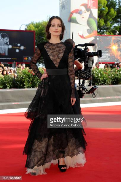 Aisling Franciosi walks the red carpet ahead of the 'The Nightingale' screening during the 75th Venice Film Festival at Sala Grande on September 6...