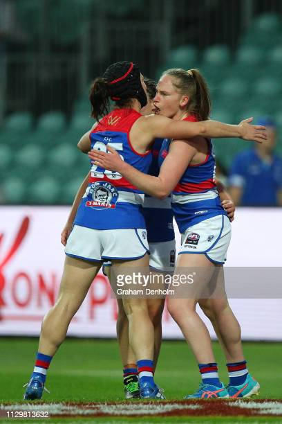 Aisling Utri of the Bulldogs celebrates kicking a goal during the round three AFLW match between the North Melbourne Kangaroos and the Western...