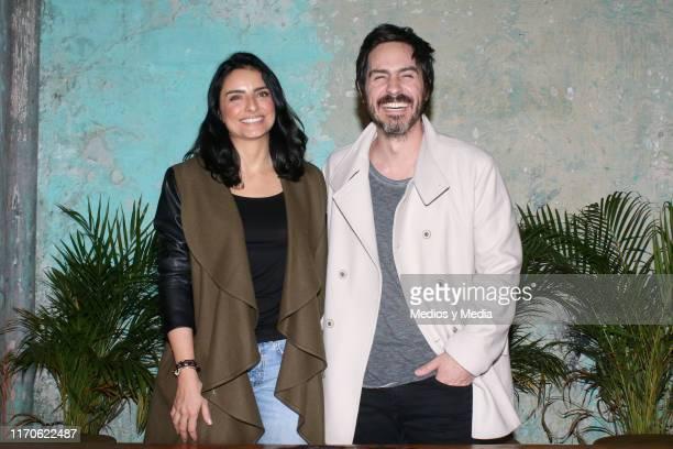 Aislinn Derbez and Mauricio Ochmann pose during the Merkaba x Ais y Mau collection launch at Televisa San Angel on August 27 2019 in Mexico City...