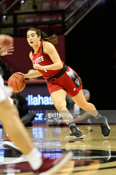 Aislinn Konig guard NC State Wolfpack dribbles against the Florida State Seminoles in an Atlantic Coast Conference matchup Thursday February 7 at...