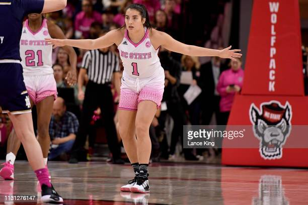 Aislinn Konig of the North Carolina State Wolfpack works on defense against the Notre Dame Fighting Irish at Reynolds Coliseum on February 18 2019 in...