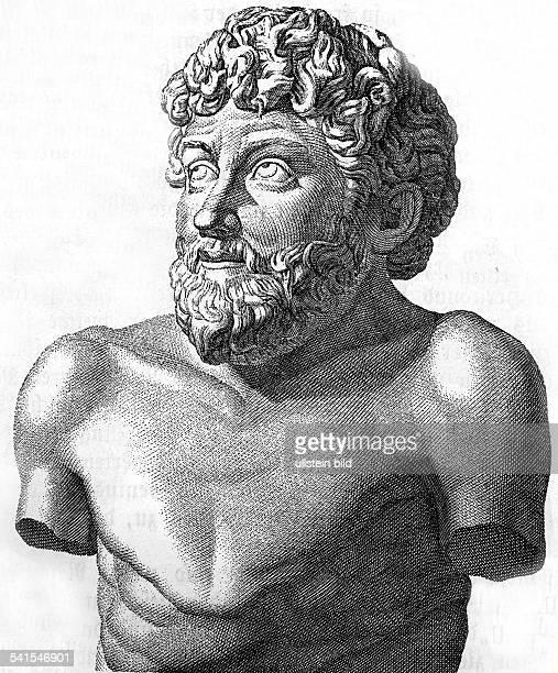 Aisopos Aesopusum 600 v Chr Fabeldichter der Antike Zeichnung einer antiken Büste in der Villa Albani Rom