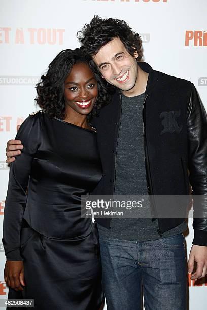 Aissa Maiga and Max Boublil attend 'Pret A Tout' Paris Premiere at Cinema Gaumont Marignan on January 13 2014 in Paris France
