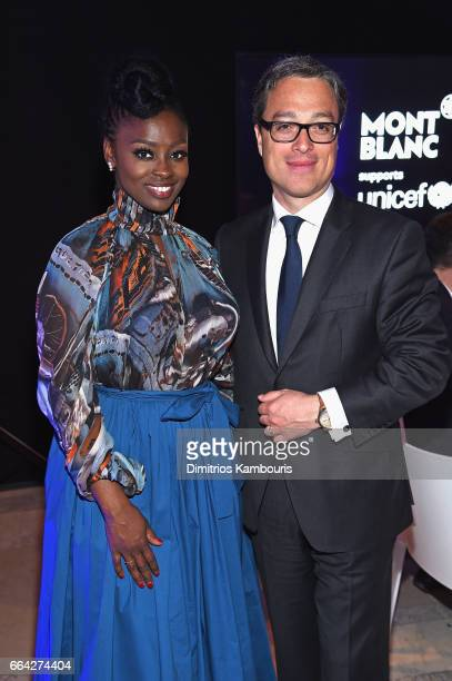 Aissa Maiga and Montblanc CEO Nicolas Baretzki attend the Montblanc UNICEF Gala Dinner at the New York Public Library on April 3 2017 in New York City