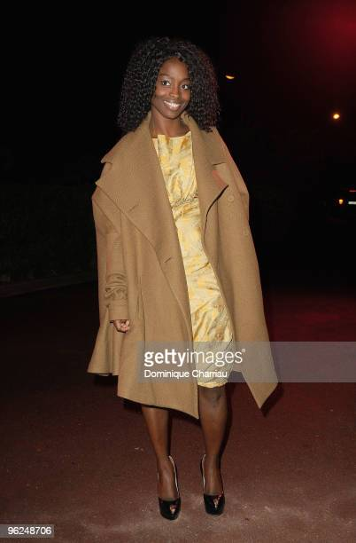 Aissa Maiga attends Fashion Dinner For AIDS at Pavillon d'Armenonville on January 28 2010 in Paris France