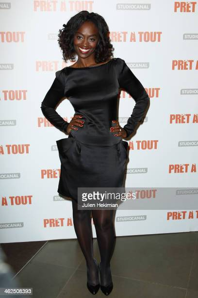 Aissa Maiga attends 'Pret A Tout' Paris Premiere at Cinema Gaumont Marignan on January 13 2014 in Paris France