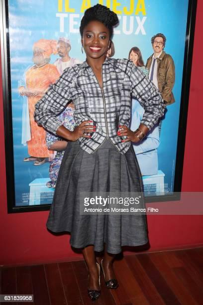 Aissa Maiga attends the 'Il A Deja Tes Yeux' Paris Premiere at Publicis Champs Elysees on January 16 2017 in Paris France