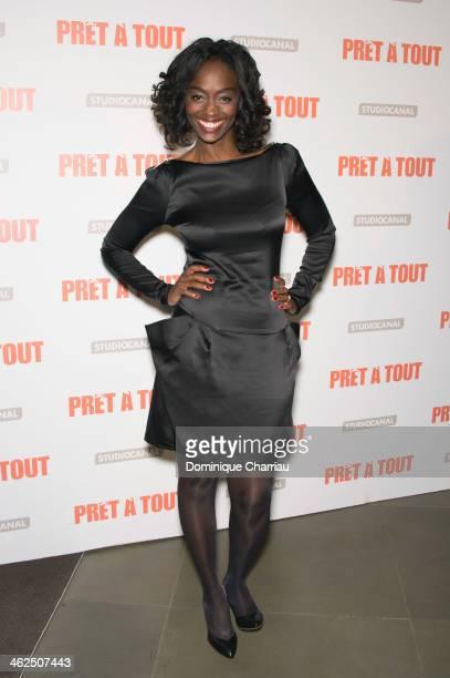 Aissa Maiga attends the 'Pret A Tout' Paris Premiere at Cinema Gaumont Marignan on January 13 2014 in Paris France