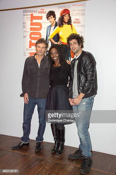 Aissa Maiga Max Boublil and Nicolas Cuche pose for the ' Pret a tout ' photocall during the 22rd Sarlat Film Festival on November 15 2013 in...