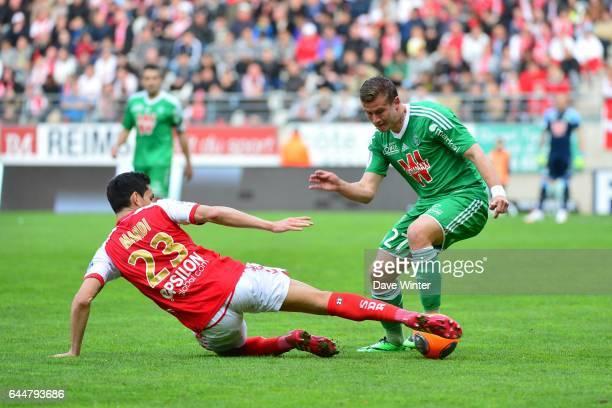 Aissa MANDI / Franck TABANOU Reims / Saint Etienne 33eme journee de Ligue 1 Photo Dave Winter / Icon Sport