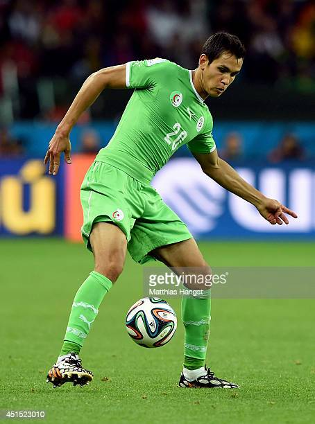 Aissa Mandi of Algeria controls the ball during the 2014 FIFA World Cup Brazil Round of 16 match between Germany and Algeria at Estadio BeiraRio on...