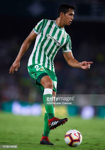 Aissa Mandi of Real Betis Balompie in action during the La Liga match between Real Betis Balompie and Levante UD at Estadio Benito Villamarin on...