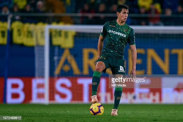 Aissa Mandi of Real Betis Balompie in action during the La Liga match between Villarreal CF and Real Betis Balompie at Estadio de la Ceramica on...