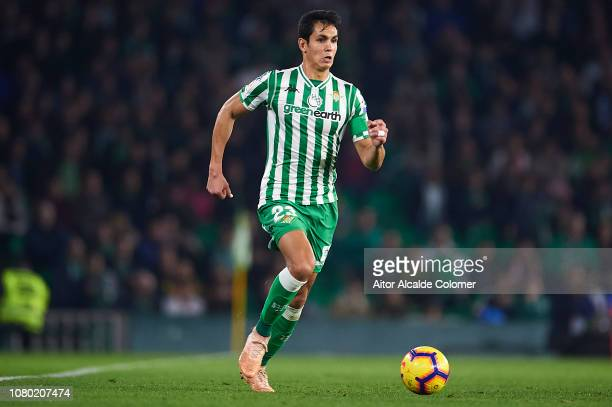 Aissa Mandi of Real Betis Balompie in action during the La Liga match between Real Betis Balompie and Rayo Vallecano de Madrid at Estadio Benito...