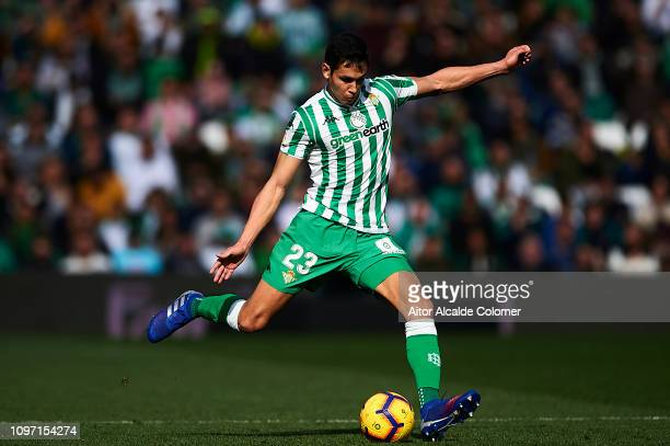 Aissa Mandi of Real Betis Balompie in action during the La Liga match between Real Betis Balompie and Girona FC at Estadio Benito Villamarin on...