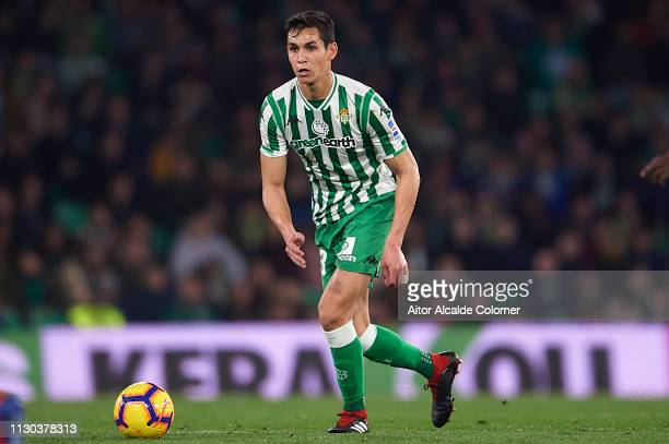Aissa Mandi of Real Betis Balompie in action during the La Liga match between Real Betis Balompie and Deportivo Alaves at Estadio Benito Villamarin...