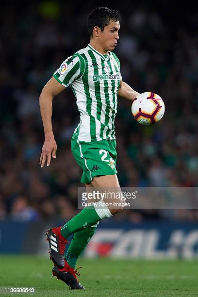 Aissa Mandi of Real Betis Balompie in action during the La Liga match between Real Betis Balompie and FC Barcelona at Estadio Benito Villamarin on...