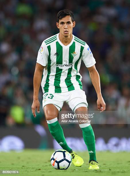 Aissa Mandi of Real Betis Balompie in action during the La Liga match between Real Betis and Levante at Estadio Benito Villamarin on September 25...