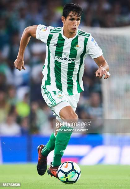 Aissa Mandi of Real Betis Balompie in action during the La Liga match between Real Betis and Valencia at Estadio Benito Villamarin on October 15 in...