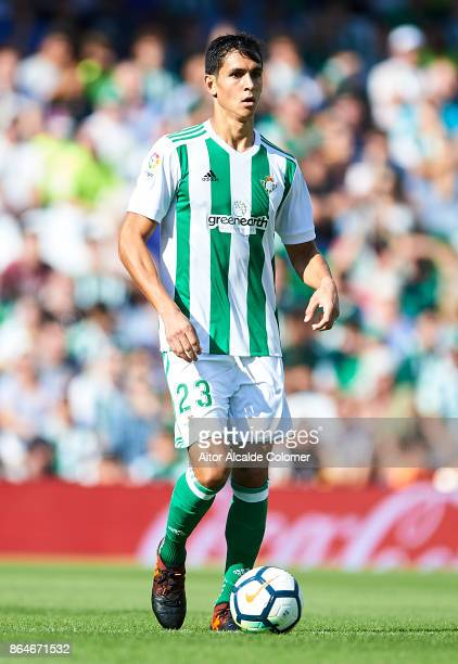 Aissa Mandi of Real Betis Balompie in action during the La Liga match between Real Betis and Alaves at Estadio Benito Villamarin on October 21 in...