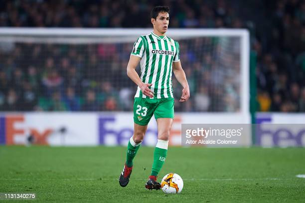 Aissa Mandi of Real Betis Balompie in action during the UEFA Europa League Round of 32 Second Leg match between Real Betis v Stade Rennais at Estadio...