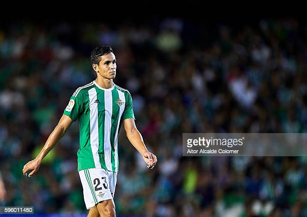 Aissa Mandi of Real Betis Balompie looks on during the match between Real Betis Balompie v RC Deportivo La Coruna as part of La Liga at Estadio...