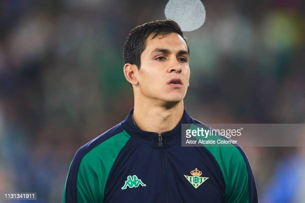 Aissa Mandi of Real Betis Balompie looks on during the UEFA Europa League Round of 32 Second Leg match between Real Betis v Stade Rennais at Estadio...