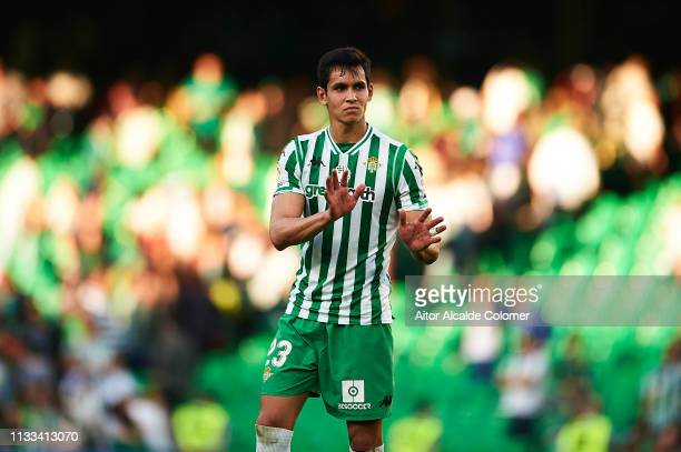 Aissa Mandi of Real Betis Balompie reacts during the La Liga match between Real Betis Balompie and Getafe CF at Estadio Benito Villamarin on March 03...