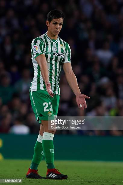 Aissa Mandi of Real Betis Balompie reacts during the La Liga match between Real Betis Balompie and FC Barcelona at Estadio Benito Villamarin on March...