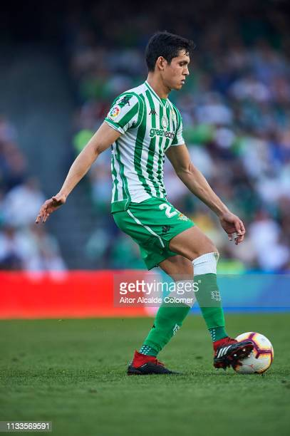 Aissa Mandi of Real Betis Balompie runs with the ball during the La Liga match between Real Betis Balompie and Getafe CF at Estadio Benito Villamarin...