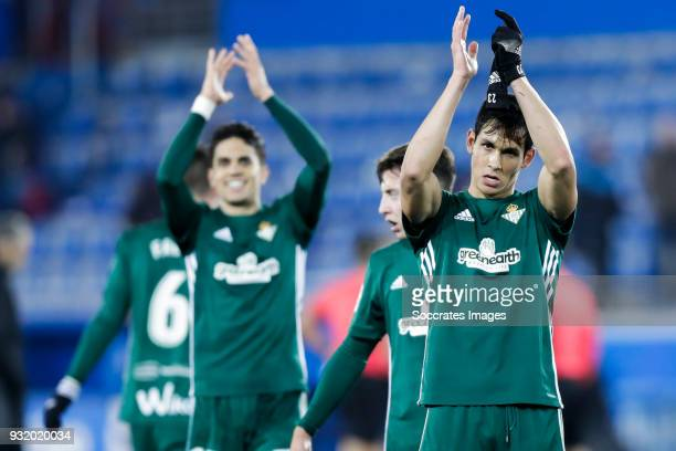 Aissa Mandi of Real Betis celebrates the victory during the La Liga Santander match between Deportivo Alaves v Real Betis Sevilla at the Estadio de...