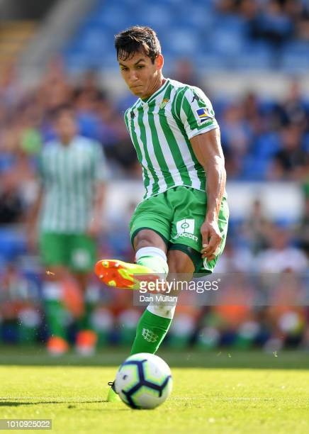 Aissa Mandi of Real Betis controls the ball during the PreSeason Friendly match between Cardiff City and Real Betis at Cardiff City Stadium on August...