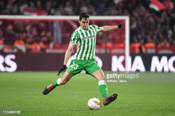 Aissa Mandi of Real Betis during the UEFA Europa League Round of 32 First Leg match between Rennes and Real Betis at Roazhon Park on February 14 2019...