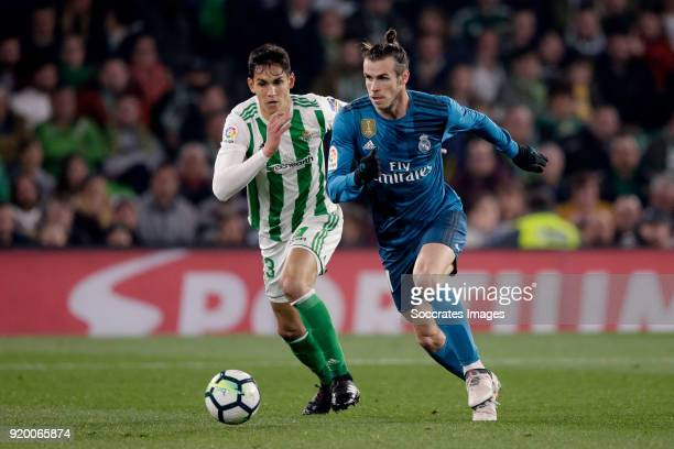 Aissa Mandi of Real Betis Gareth Bale of Real Madrid during the La Liga Santander match between Real Betis Sevilla v Real Madrid at the Estadio...
