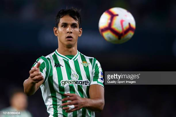 Aissa Mandi of Real Betis in action during the La Liga match between Real Betis Balompie and Levante UD at Estadio Benito Villamarin on August 17...