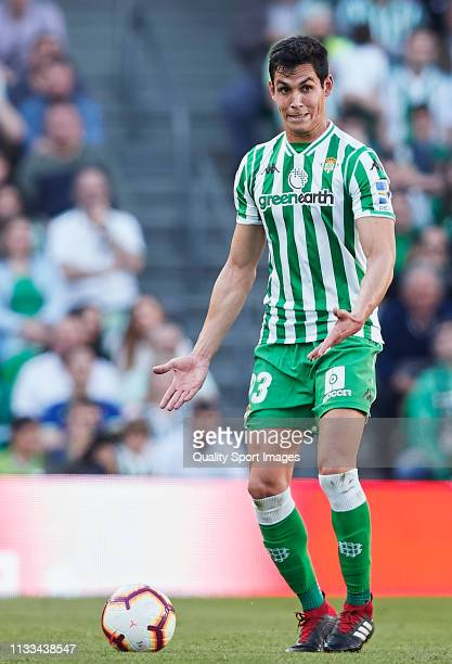 Aissa Mandi of Real Betis in action during the La Liga match between Real Betis Balompie and Getafe CF at Estadio Benito Villamarin on March 03 2019...
