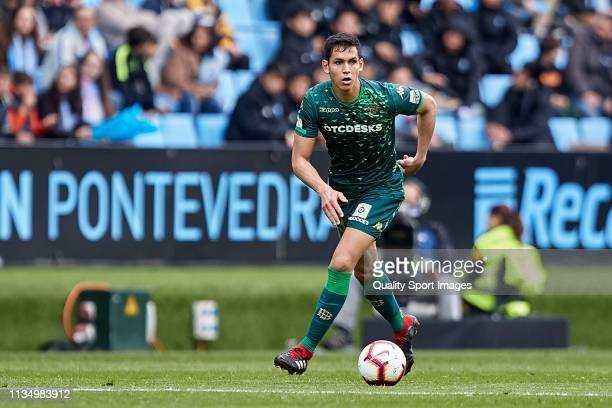 Aissa Mandi of Real Betis in action during the La Liga match between RC Celta de Vigo and Real Betis Balompie at AbancaBalaídos on March 10 2019 in...