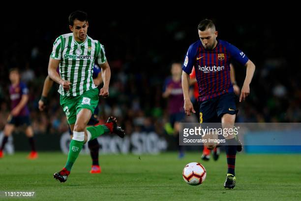 Aissa Mandi of Real Betis Jordi Alba of FC Barcelona during the La Liga Santander match between Real Betis Sevilla v FC Barcelona at the Estadio...