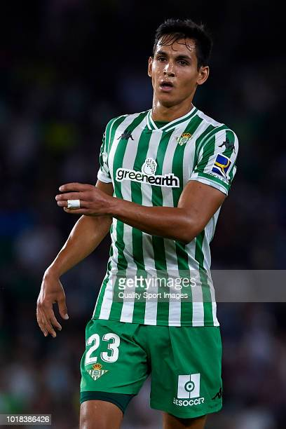 Aissa Mandi of Real Betis looks on during the La Liga match between Real Betis Balompie and Levante UD at Estadio Benito Villamarin on August 17 2018...
